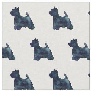 Westie Terrier Silhouette Tiled - Black Fabric