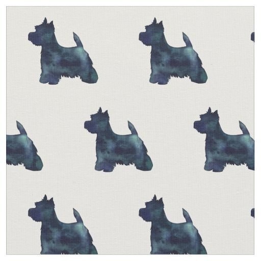 Westie Terrier Silhouette Tiled - Black Fabric