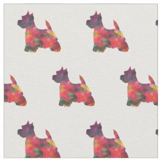Westie Terrier Silhouette Tiled - Multi Fabric