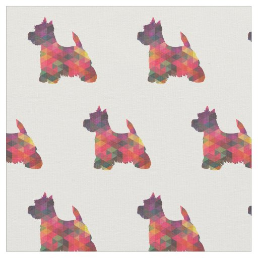 Westie Terrier Silhouette Tiled - Multi Fabric