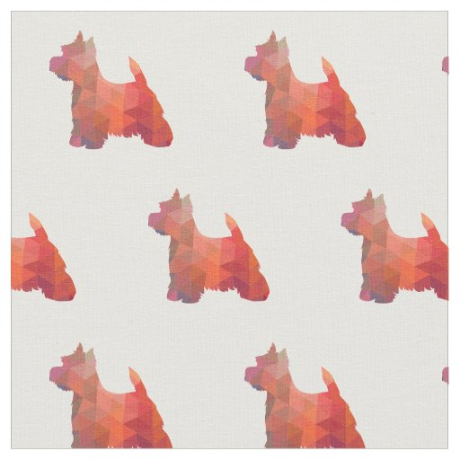 Westie Terrier Silhouette Tiled - Orange Fabric