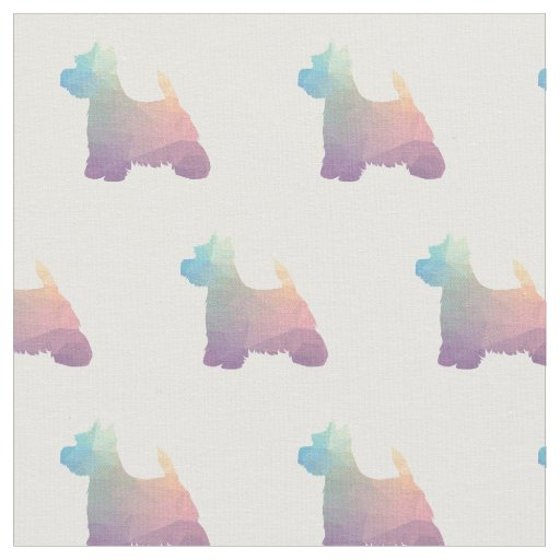 Westie Terrier Silhouette Tiled - Pastel Fabric