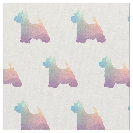 Westie Terrier Silhouette Tiled - Pastel Fabric