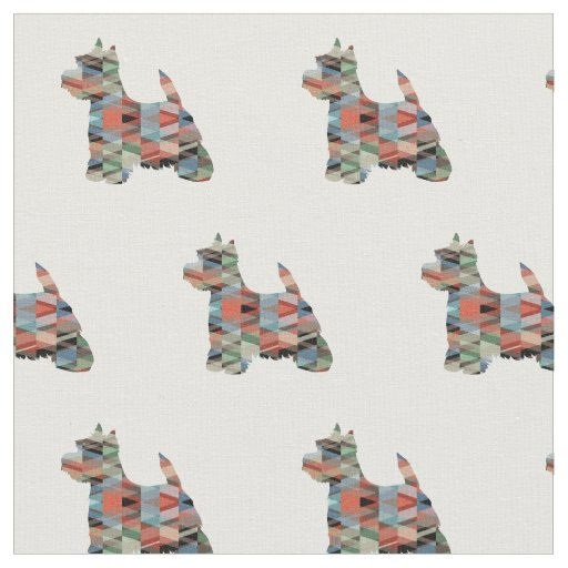 Westie Terrier Silhouette Tiled - Plaid Fabric