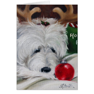 westie west highland terrier dog christmas santa greeting card