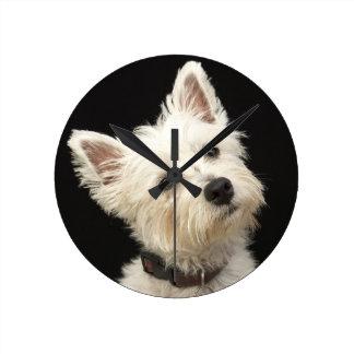 Westie (West Highland terrier) with collar Round Clock