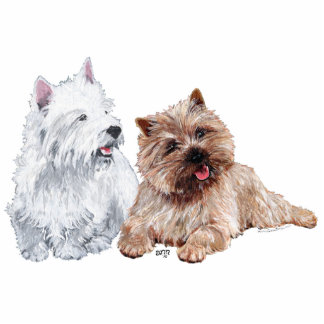 Westie with a Brown Cairn Terrier Standing Photo Sculpture