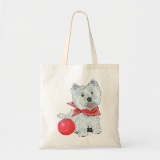 Westie with a Red Ball Budget Tote Bag