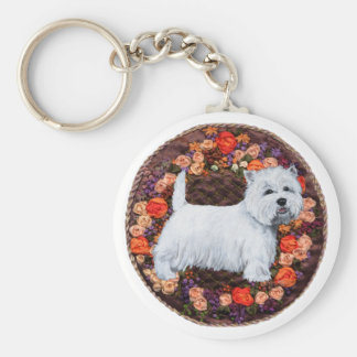 Westie With Autumn Flowers Basic Round Button Key Ring