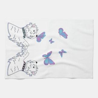 Westies and Butterflies Tea Towel