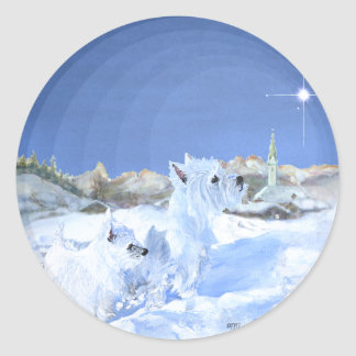 Westies in the Snow Classic Round Sticker