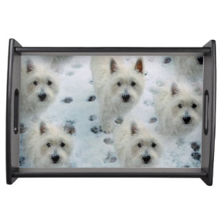 WESTIES IN THE SNOW lovely tray Birthday Christmas Serving Trays