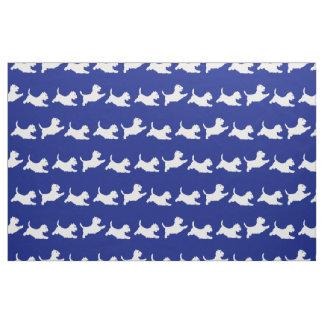 Westies Running on Blue Fabric