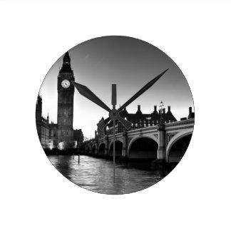 Westminster Bridge and Big Ben Round Clock