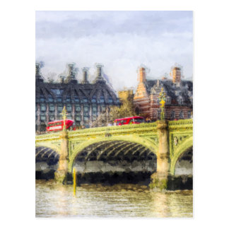 Westminster Bridge and London Buses Art Postcard