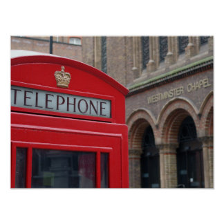 Westminster Chapel - London Red Phone Box Poster