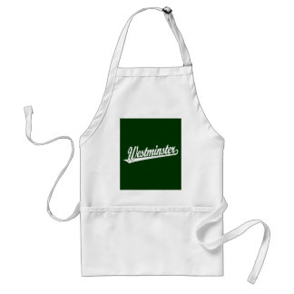 Westminster script logo in white apron