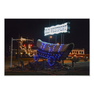 Westport, Missouri, Covered Wagon Holiday Lights Poster