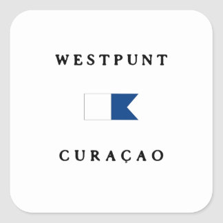 Westpunt Curacao Alpha Dive Flag Square Sticker