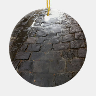 Wet Alley -- Blue stone alley covered in water. Round Ceramic Decoration