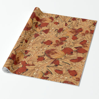 Wet Autumn Leaves Wrapping Paper