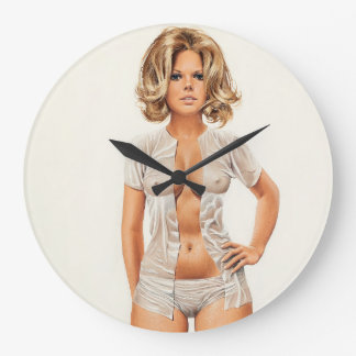 Wet clothes vintage pinup girl large clock