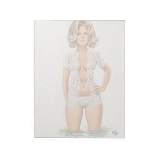 Wet clothes vintage pinup girl notepad