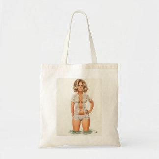 Wet clothes vintage pinup girl tote bag