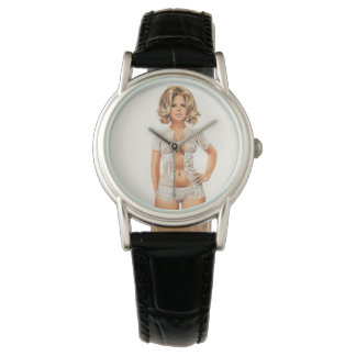 Wet clothes vintage pinup girl watch