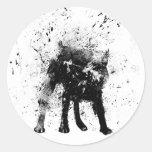 wet dog round sticker