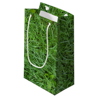 wet green grass and clover small gift bag