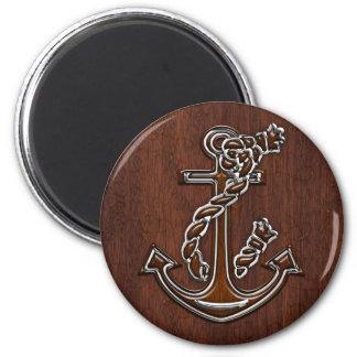 Wet Nautical Mahogany Anchor Steel Magnet