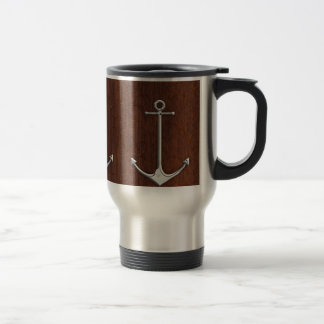 Wet Nautical Mahogany Anchor Steel Stainless Steel Travel Mug