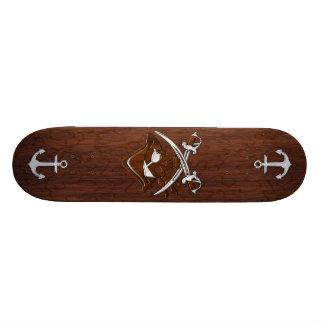 Wet Nautical Mahogany Pirate Skull Steel Custom Skateboard