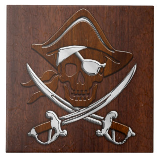 Wet Nautical Mahogany Pirate Skull Steel Large Square Tile