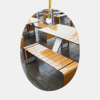 Wet tables outdoor cafe ceramic oval decoration