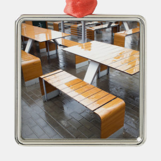 Wet tables outdoor cafe Silver-Colored square decoration