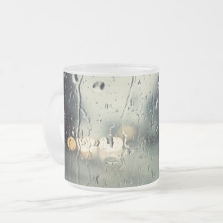 Wet Window Street view Frosted Glass Coffee Mug