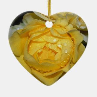 Wet Yellow Rose Ceramic Heart Decoration