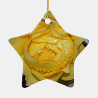 Wet Yellow Rose Ceramic Star Decoration