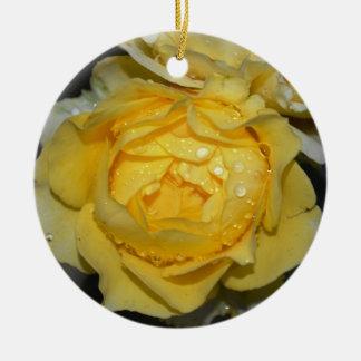 Wet Yellow Rose Round Ceramic Decoration