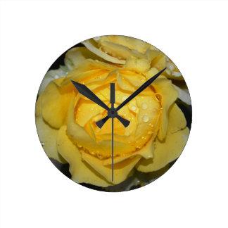 Wet Yellow Rose Round Clock