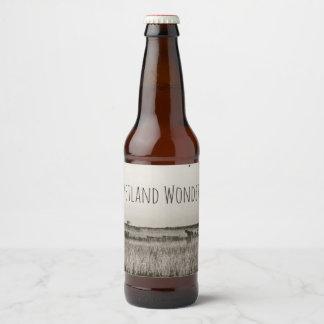 Wetland Marshland Antique Aged Sepia Riverboats Beer Bottle Label