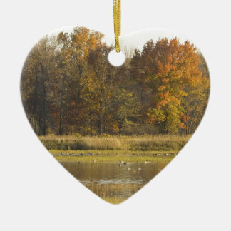 WETLAND WITH AUTUMN TREES IN BACKGROUND AND DUCKS CERAMIC ORNAMENT
