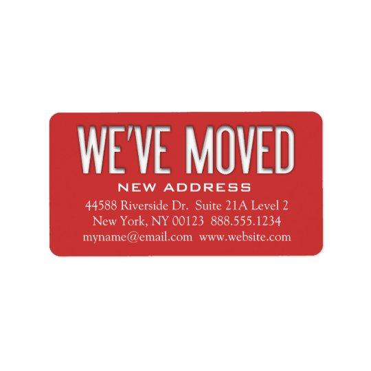 """We've Moved"" Address Change Notification Label"