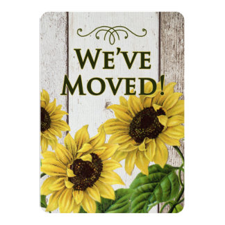 We've Moved Announcement-Retro Sunflowers Card