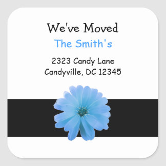 We've Moved Black Ribbon Blue Flower Square Sticker