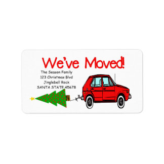 We've Moved Car and tree Christmas label Address Label
