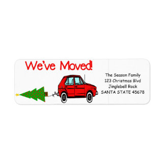 We've Moved Car and tree Christmas label Return Address Label