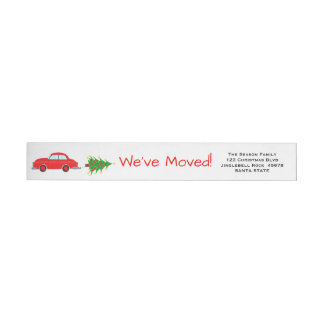 We've Moved Car and tree Christmas label Wraparound Return Address Label